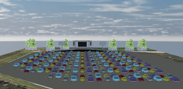 rendering of cars at drive-in event
